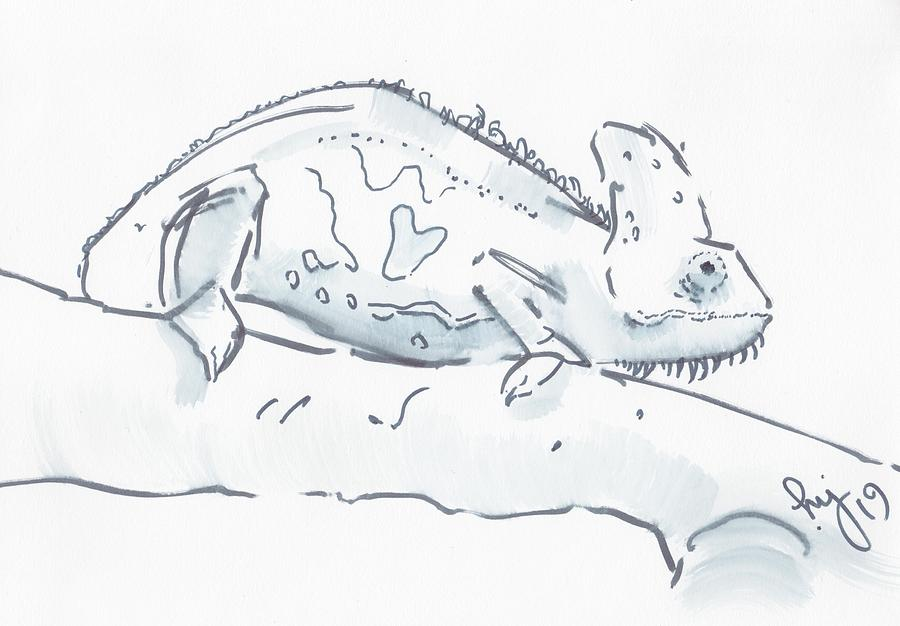 Chameleon black and white watercolor sketch by Mike Jory