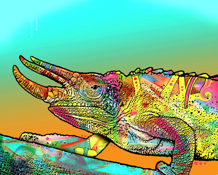 Graffiti Mixed Media - Chameleon by Dean Russo