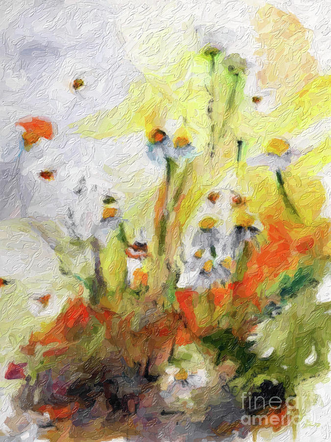 Chamomile Flowers Digital Impressionism Art by Ginette Callaway
