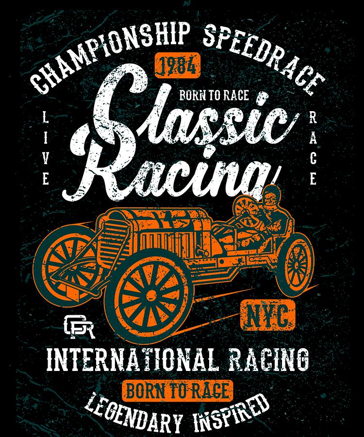 Distressed Digital Art - Championship Speed Race Classic Racing by Passion Loft