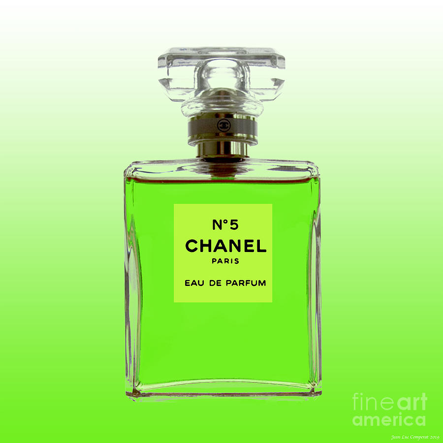 Chanel No 5 -Lime green background by Jean luc Comperat