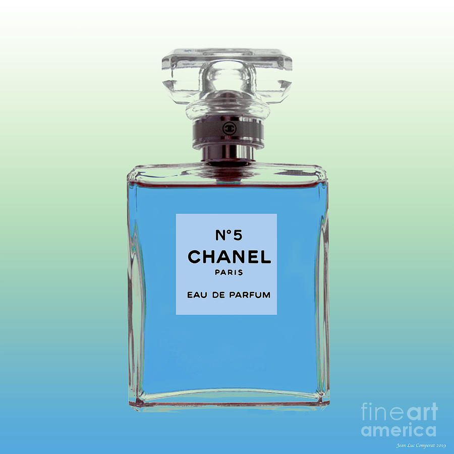 Chanel No 5 - Periwinkle background by Jean luc Comperat