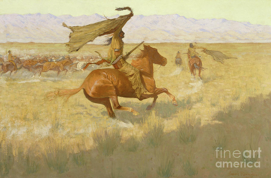 The Stampede Painting - Change Of Ownership, The Stampede, Horse Thieves, 1903 by Frederic Remington