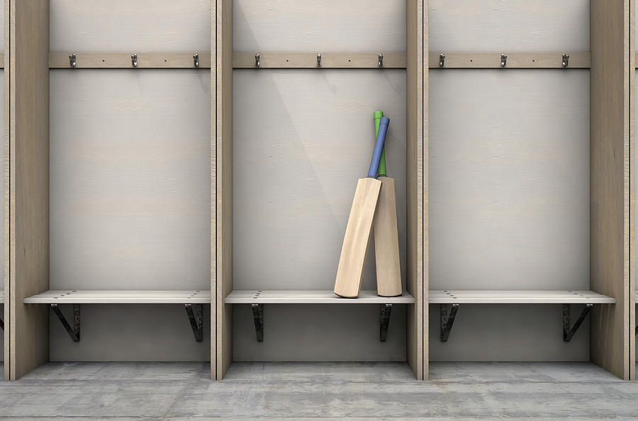 Cricket Digital Art - Change Room Cubicles Hangers And Bench by Allan Swart