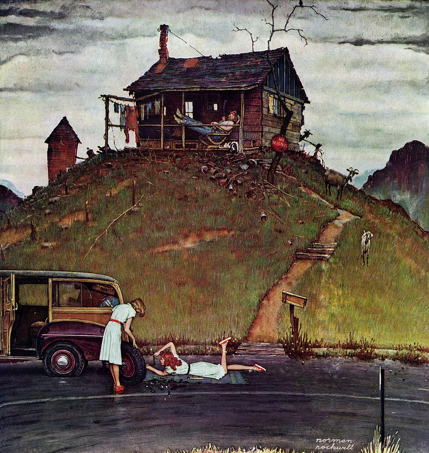 Automobiles Drawing - Changing A Flat by Norman Rockwell