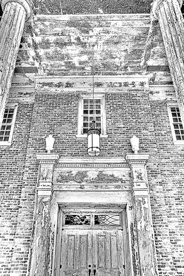 Chapel Of Hope Columbia State Hospital Entrance Black And White by Lisa Wooten