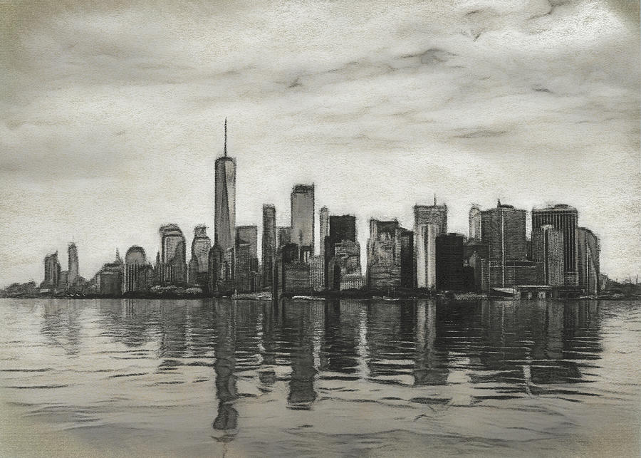 Charcoal drawing of a panorama of Manhattan and New York city wi by Steven Heap