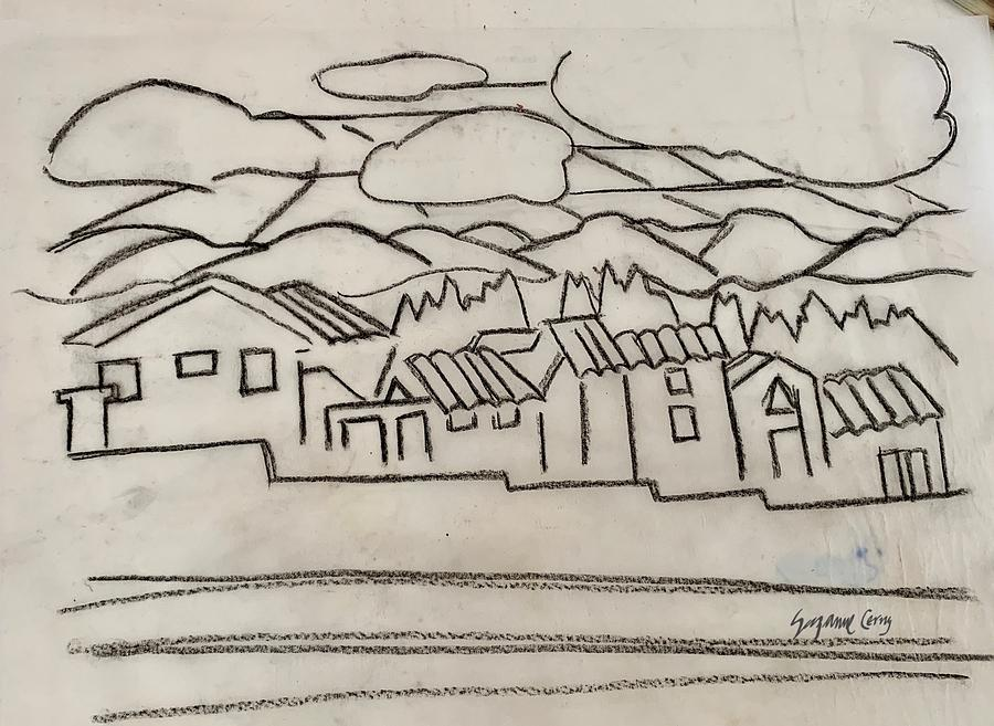 Charcoal Houses Sketch by Suzanne Cerny