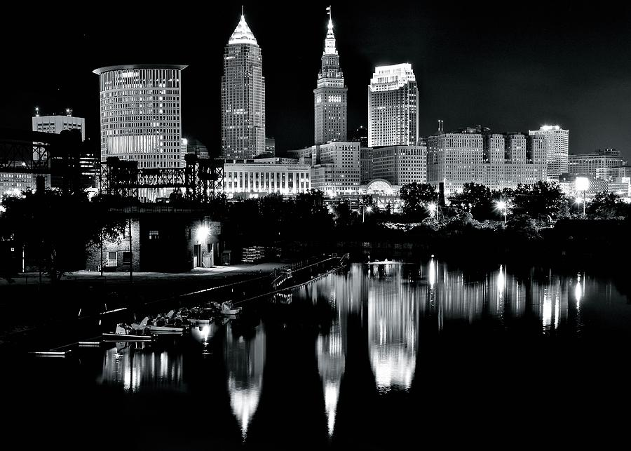 Charcoal Night View Of Cleveland Photograph