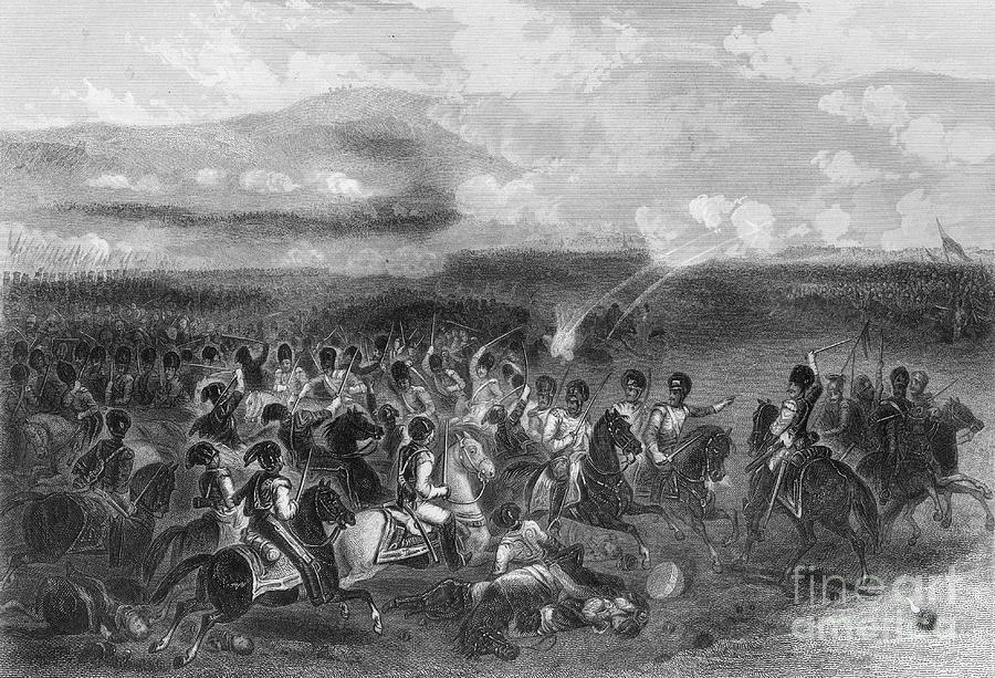 Charge Of Heavy Cavalry At The Battle Drawing by Print Collector
