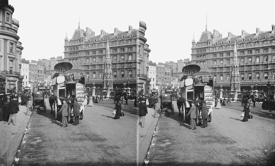 People Photograph - Charing Cross Station by London Stereoscopic Company