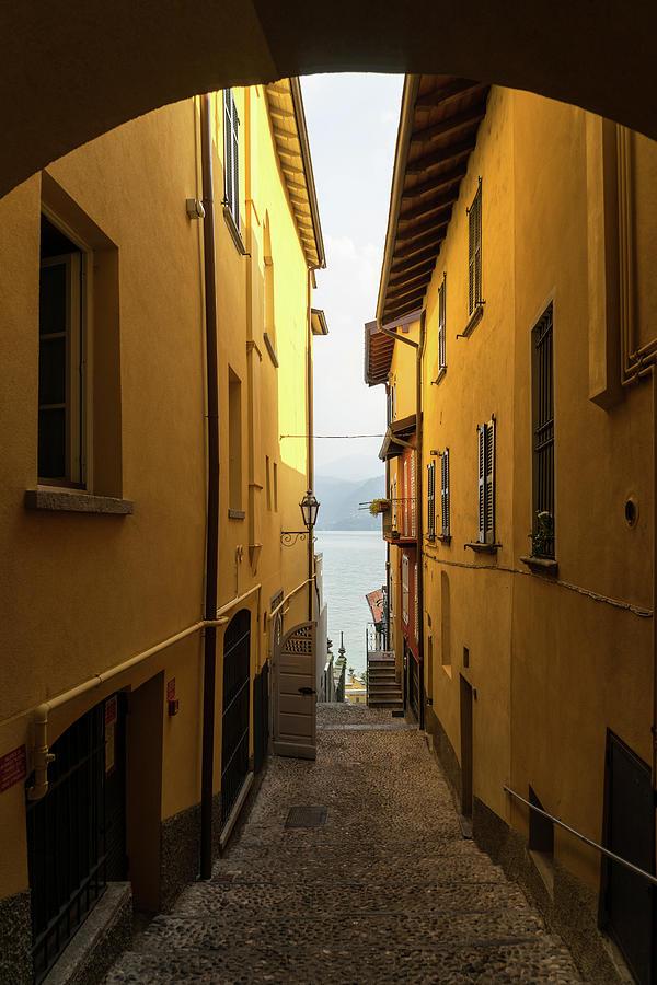 Charismatic Varenna - Warm Yellow Squeeze Lane Towards Lake Como by Georgia Mizuleva