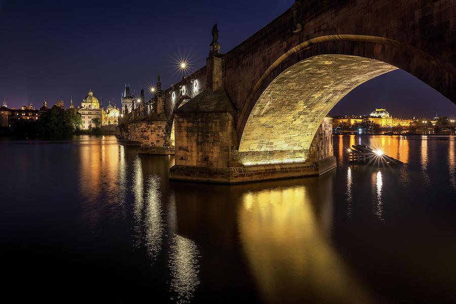 Prague Photograph - Charles Bridge refliction by Andrei Dima