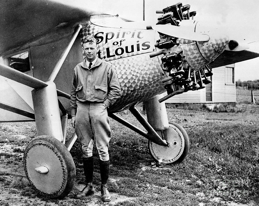 Charles Lindbergh Alongside The Spirit Photograph by New York Daily News Archive