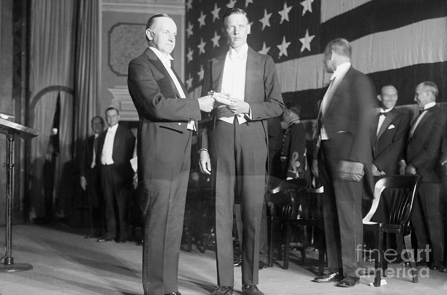 Charles Lindbergh Receiving Hubbard Photograph by Bettmann