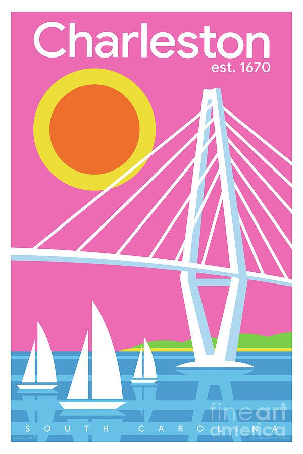 Mid Century Modern Digital Art - Charleston Poster - Modern Travel  by Jim Zahniser