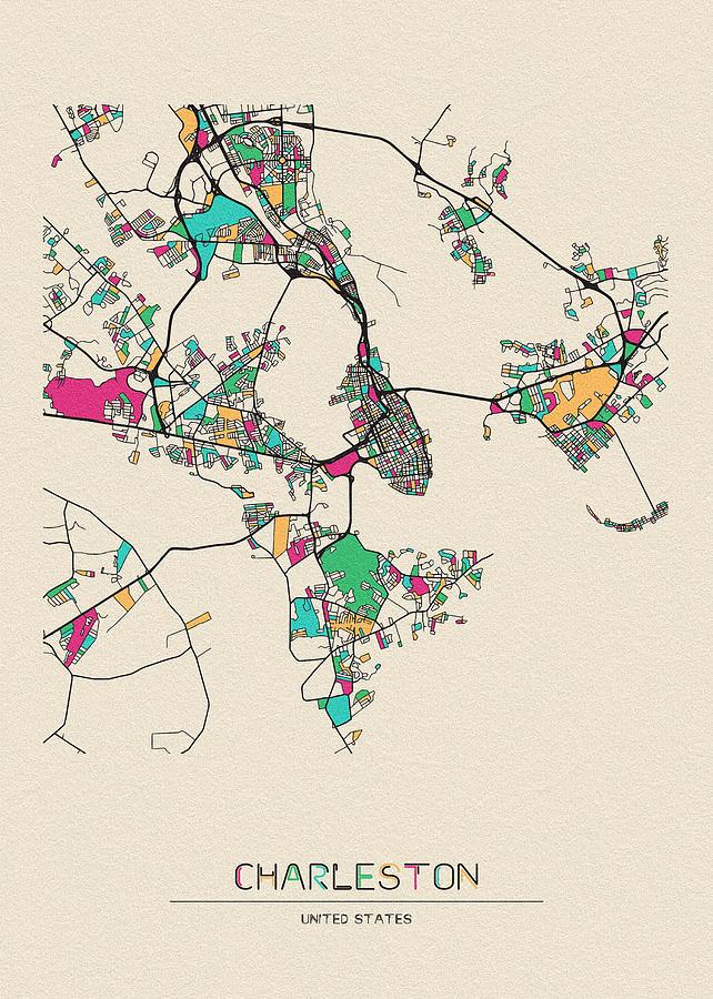 Charleston, South Carolina City Map by Inspirowl Design