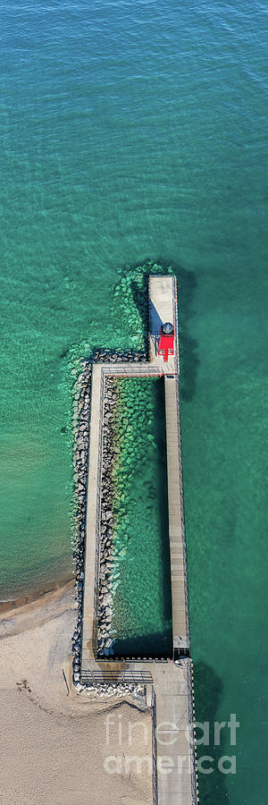 Charlevoix Photograph - Charlevoix Pier From The Sky by Twenty Two North Photography