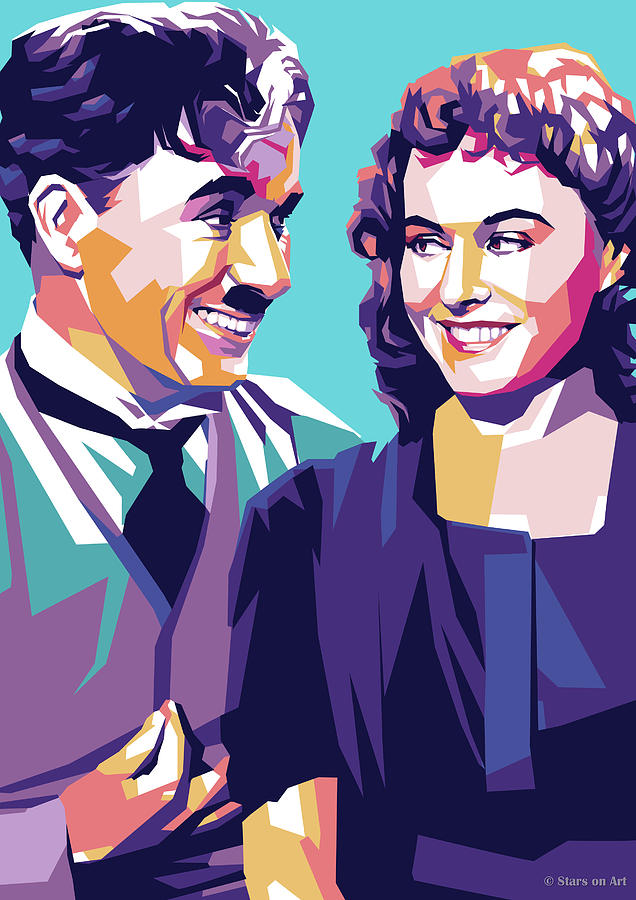 Charlie Chaplin And Paulette Goddard Digital Art