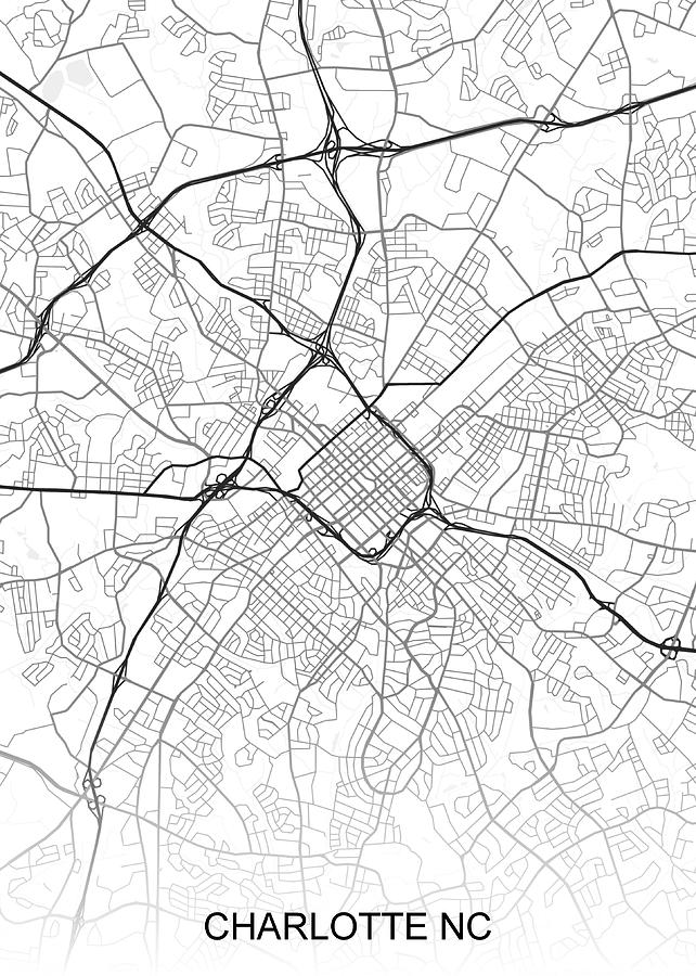 Charlotte Map Nc Usa Drawing By Ihab Design