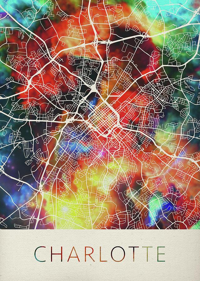 Charlotte North Carolina Watercolor City Street Map Mixed Media by ...