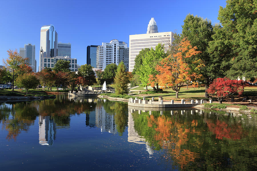 Charlotte Skyline And Pond, North Photograph by Jumper