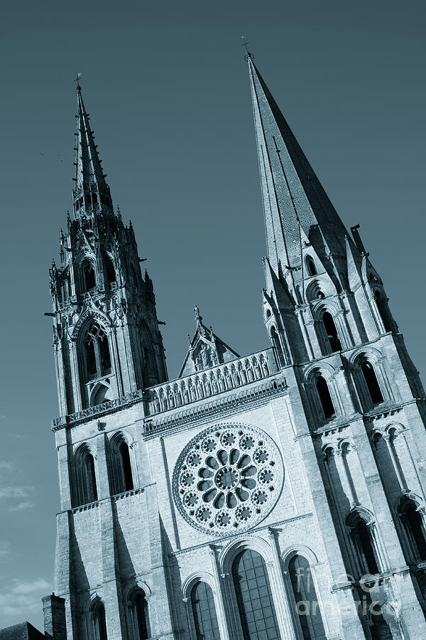 Chartres Cathedral, France the two contrasting spires by Peter Noyce