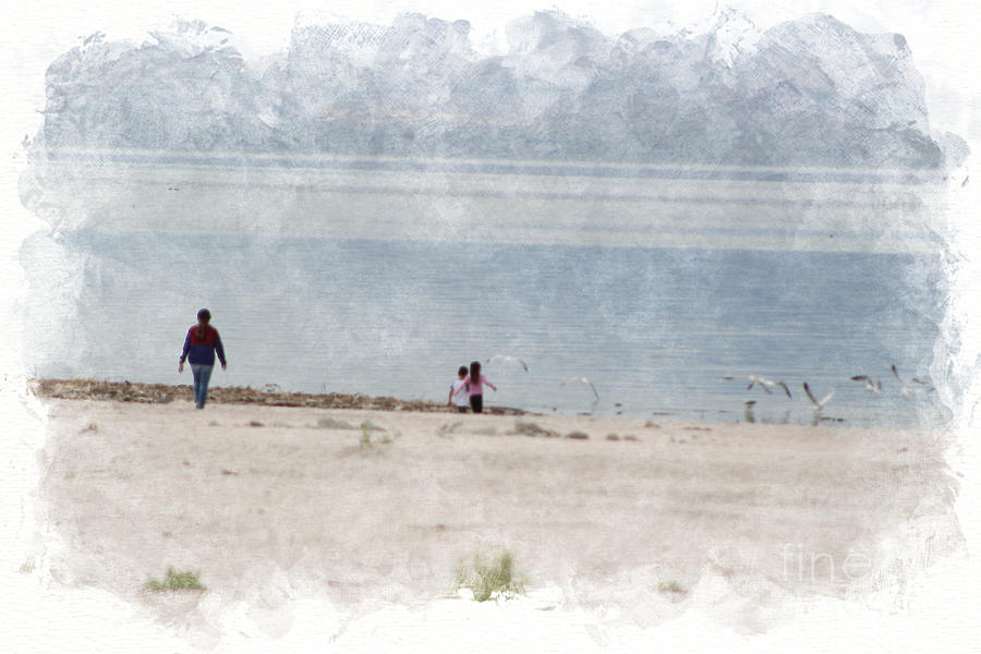 Watercolor Photograph - Chasing Seagulls at The Salton Sea in Digital Watercolor by Colleen Cornelius