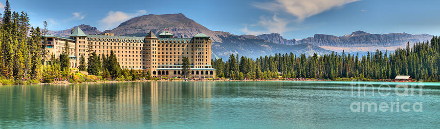 Chateau And Boathouse Lake Louise Panorama by Adam Jewell