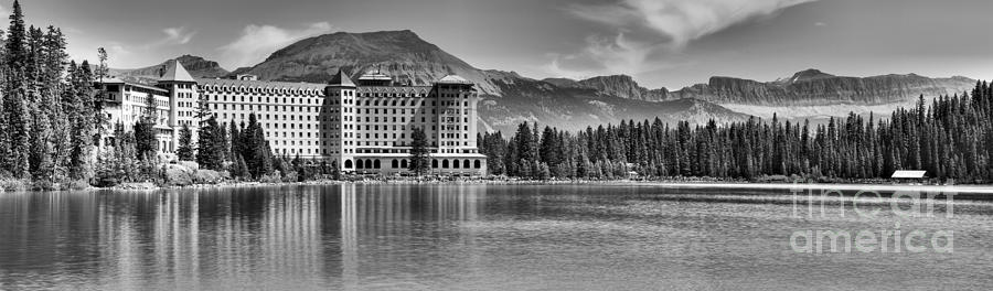 Chateau And Boathouse Lake Louise Panorama Black And White by Adam Jewell