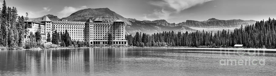 Chateau Lake Louise Reflection Panorama Black And White by Adam Jewell