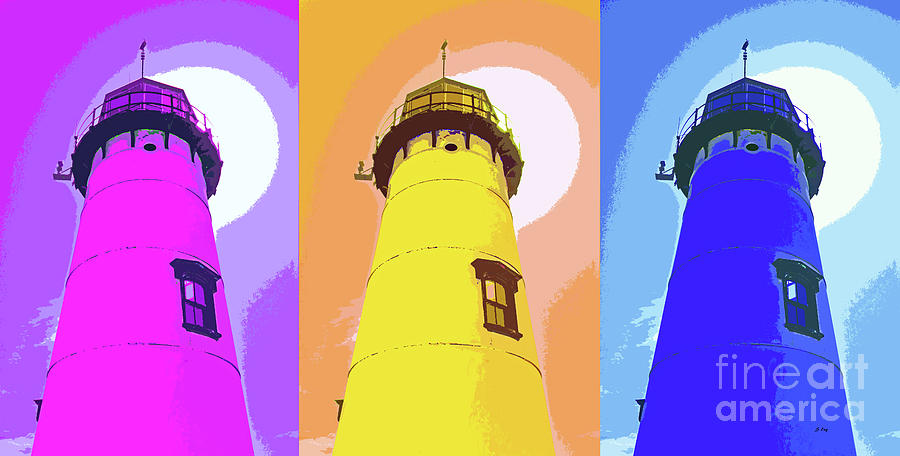Chatham Lighthouse Abstract Triptych 300 by Sharon Williams Eng