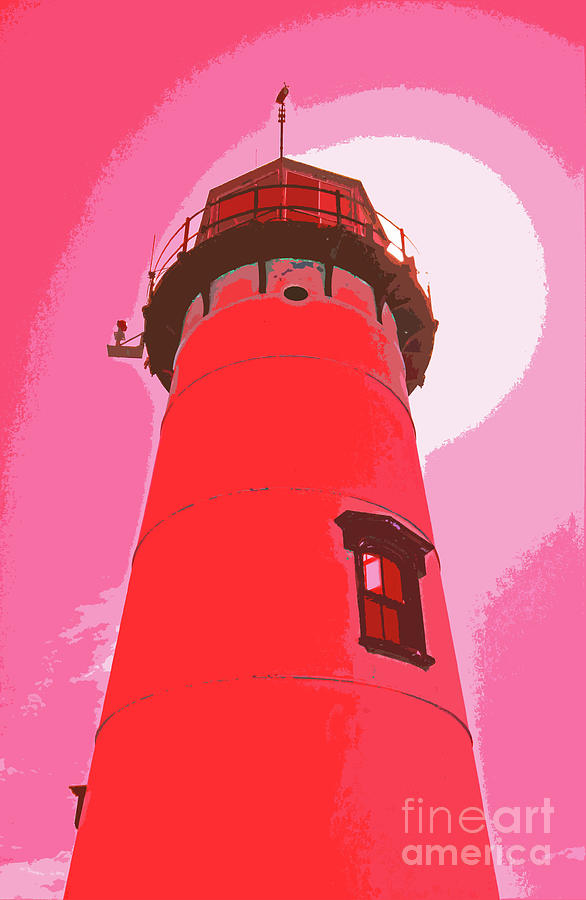 Chatham Lighthouse Red Abstract 300 by Sharon Williams Eng