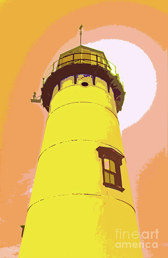 Chatham Lighthouse Yellow Abstract 300 by Sharon Williams Eng