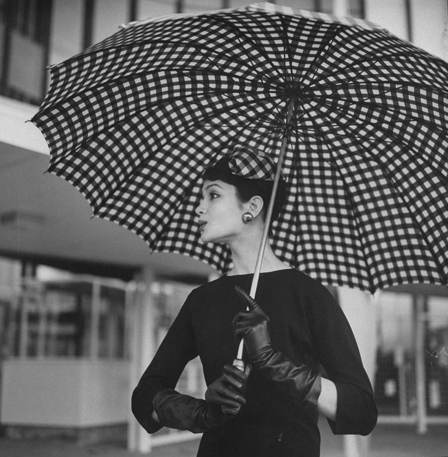 Checked Parasol, Used At The Racetrack Photograph by Nina Leen