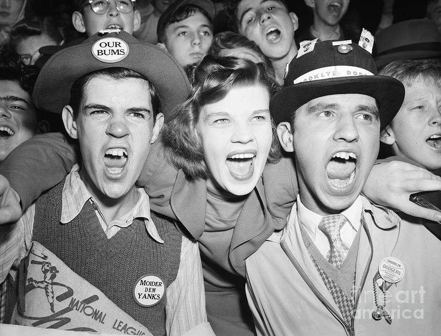 Cheering Brooklyn Dodgers Fans Photograph by Bettmann