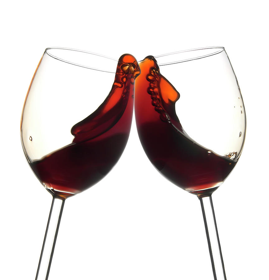 Cheers Two Red Wine Glasses, Toast Photograph by Domin domin