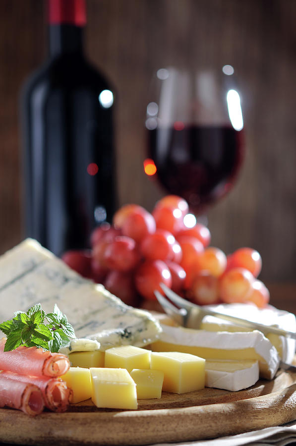 Cheese And Wine Photograph by Moncherie