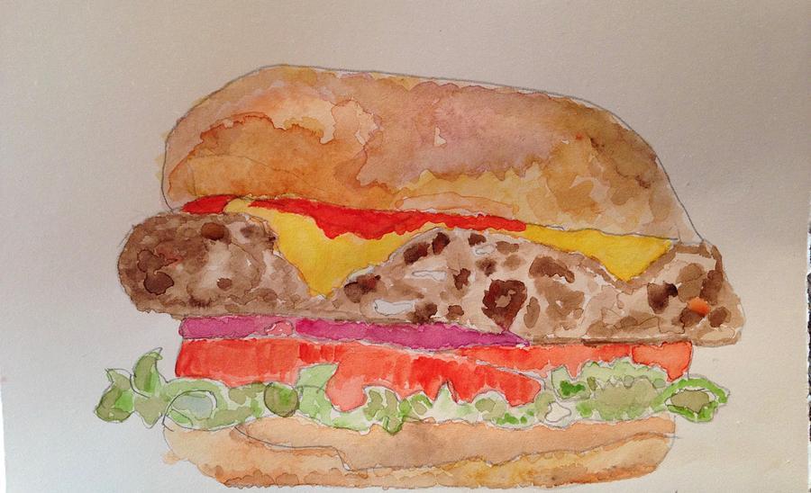 Cheeseburger Painting - Cheeseburger by Marty Klar