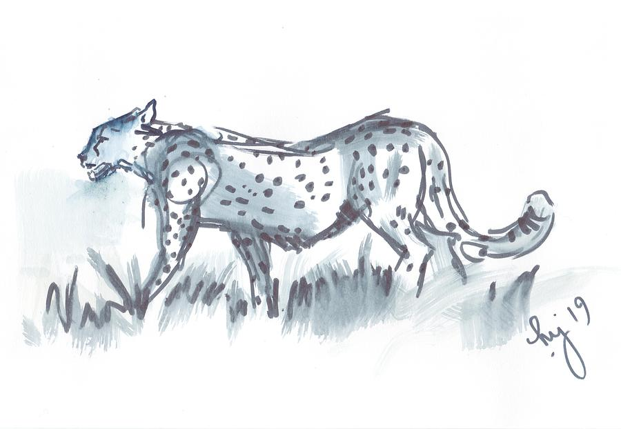 Cheetah walking black and white waterolor sketch by Mike Jory