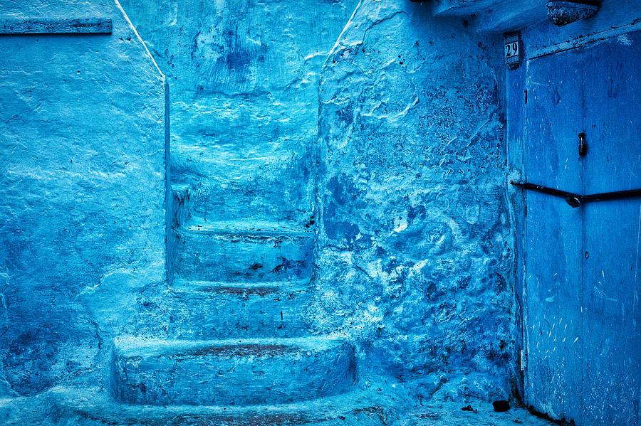 Chefchaouen Blue Stone Steps - Morocco by Stuart Litoff