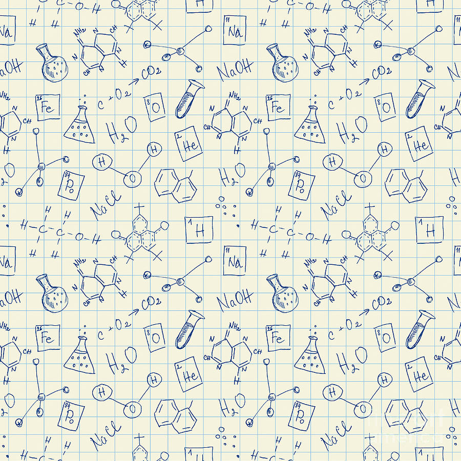 College Digital Art - Chemistry Doodles Seamless Pattern by Angelinast