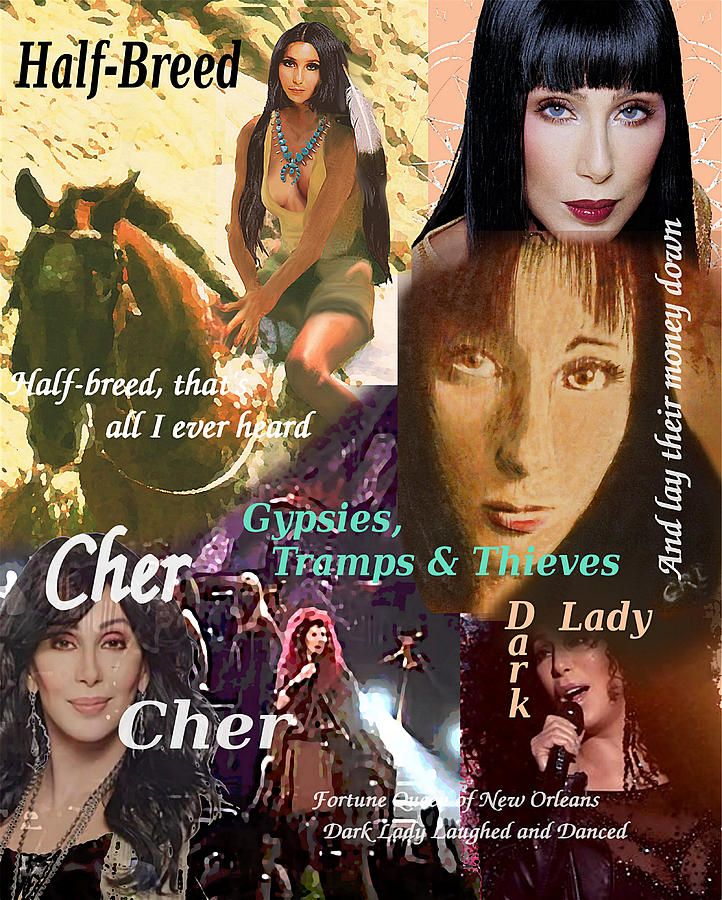 Cher Collage Gypsies Half-Breed Dark Lady by G Linsenmayer