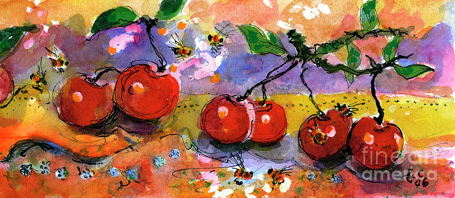 Cherries and Bees Fruit Art Watercolor by Ginette Callaway