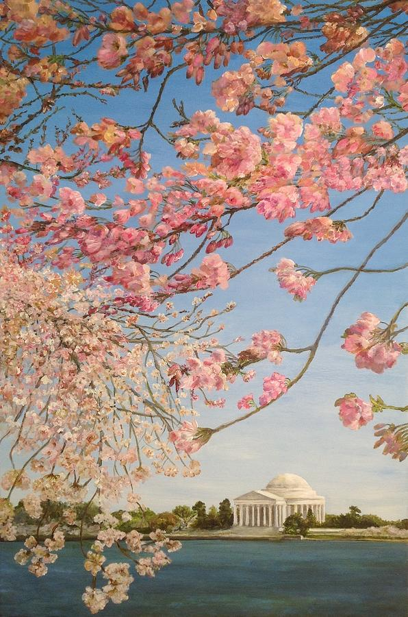 Cherry Blossoms Painting - Cherry Blossoms at the Tidal Basin by Lin-Lin Mao