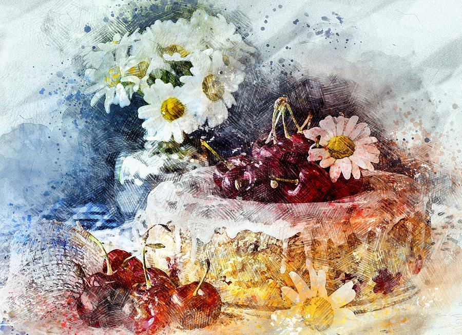 Cherry Blossoms Painting - Cherry Blossoms Cakes by ArtMarketJapan