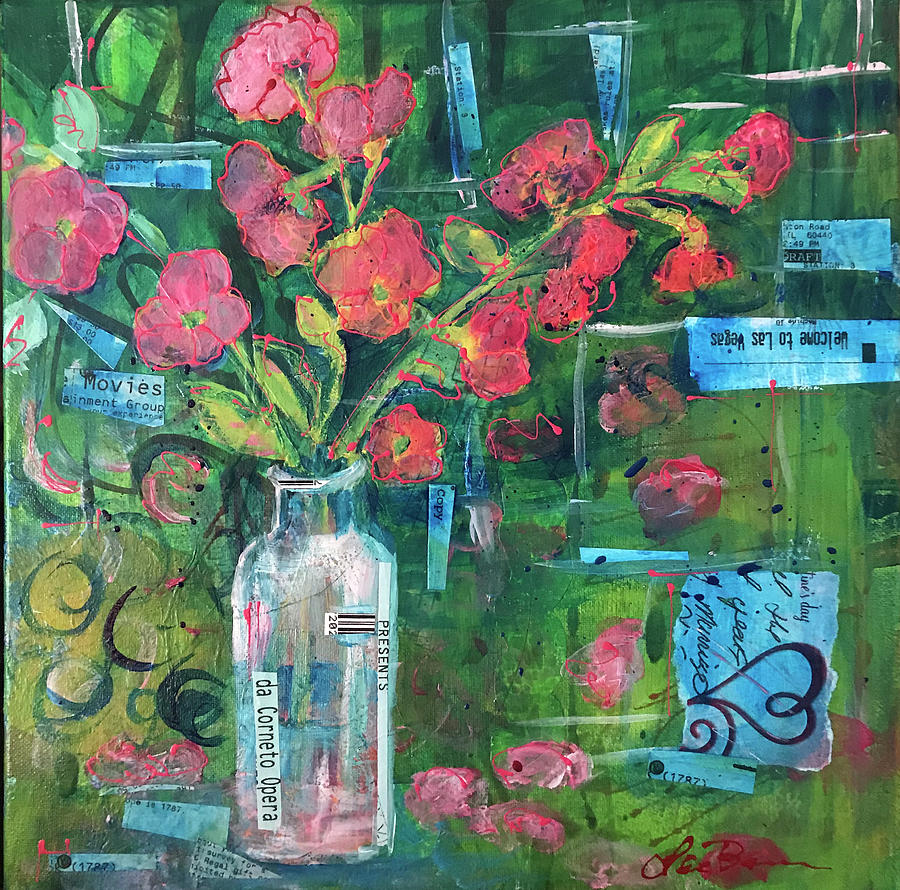 Vase Mixed Media - Cherry Blossoms by Lee Bauman