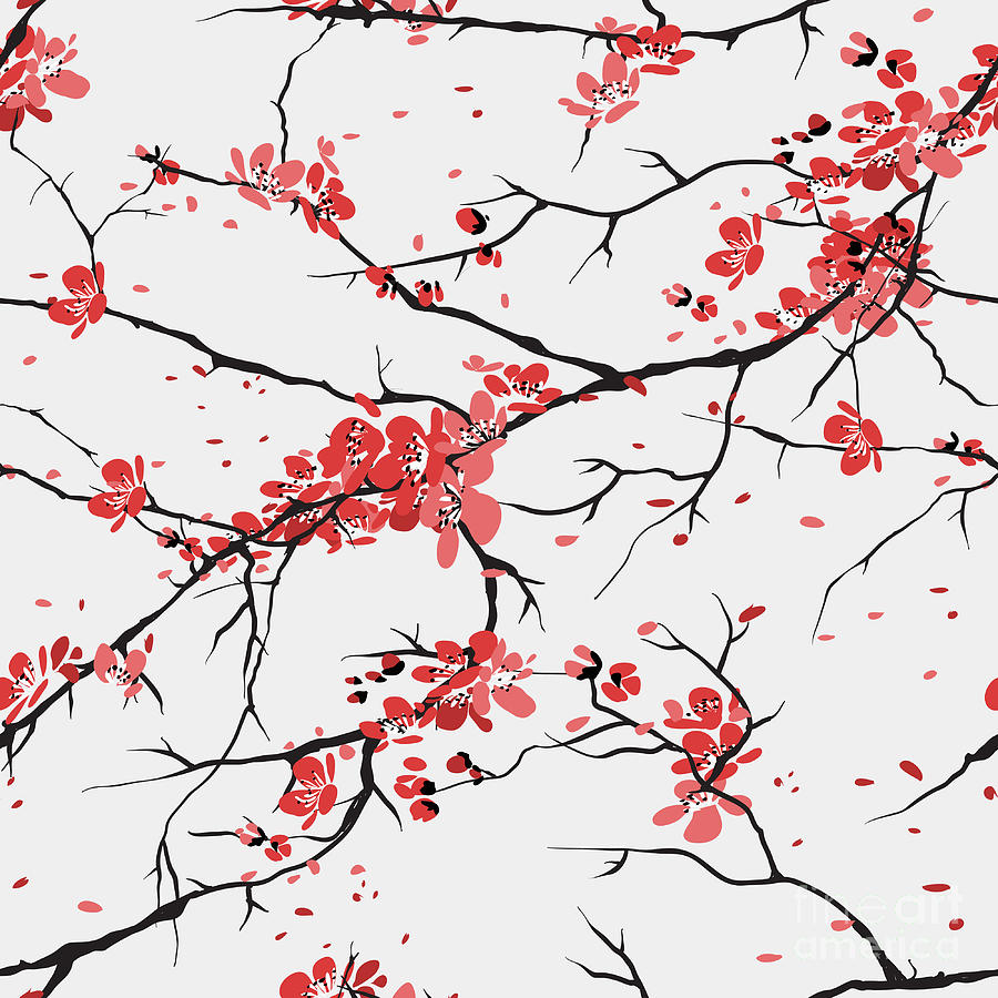 Geisha Digital Art - Cherry Or Sakura Seamless Pattern by Sofiav