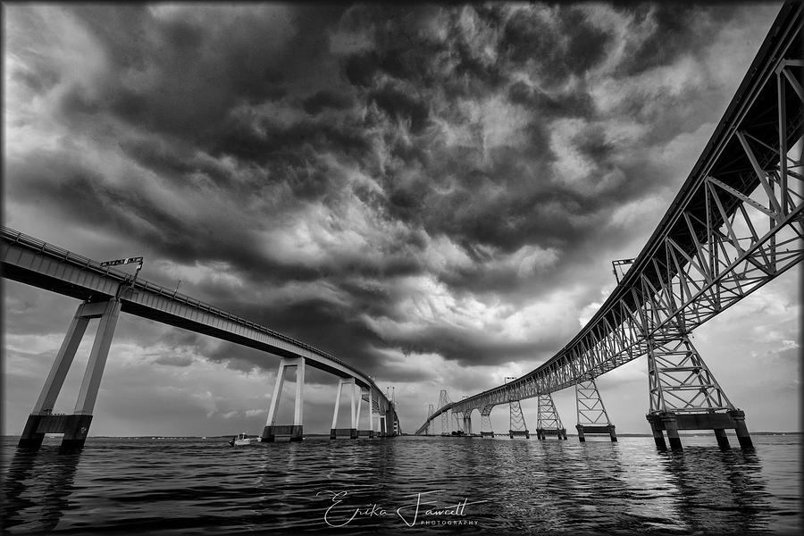 Chesapeake Bay Bridge Storm BW by Erika Fawcett