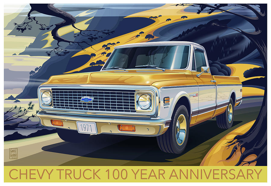 Chevrolet Digital Art - Chevrolet Centennial1971 C10 Cheyenne Fleetside by Garth Glazier